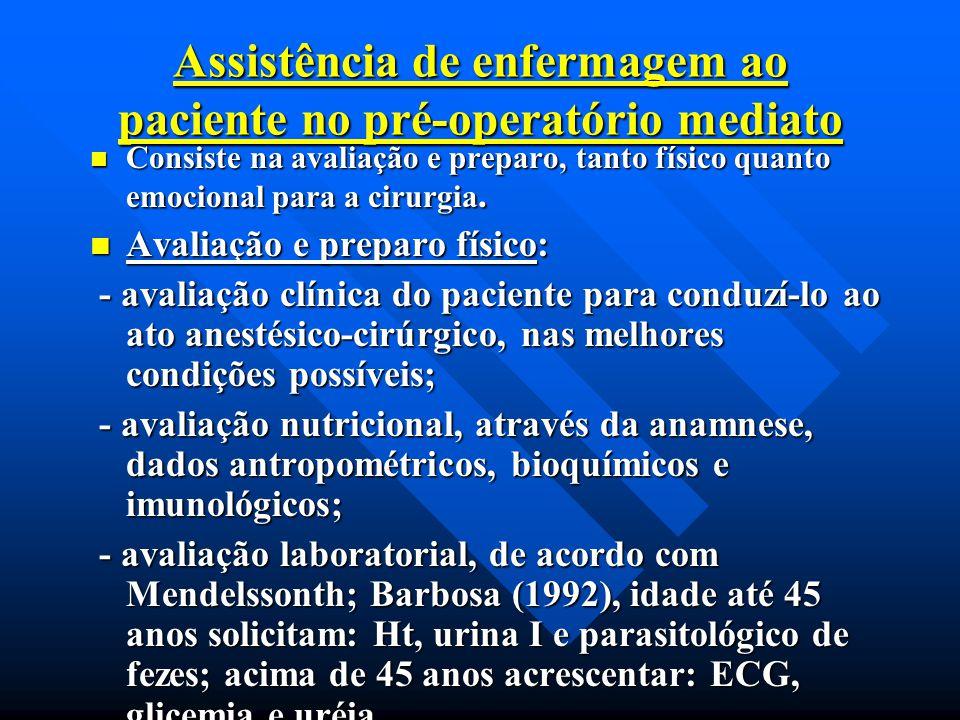 Assistência de enfermagem ao paciente no pré-operatório mediato
