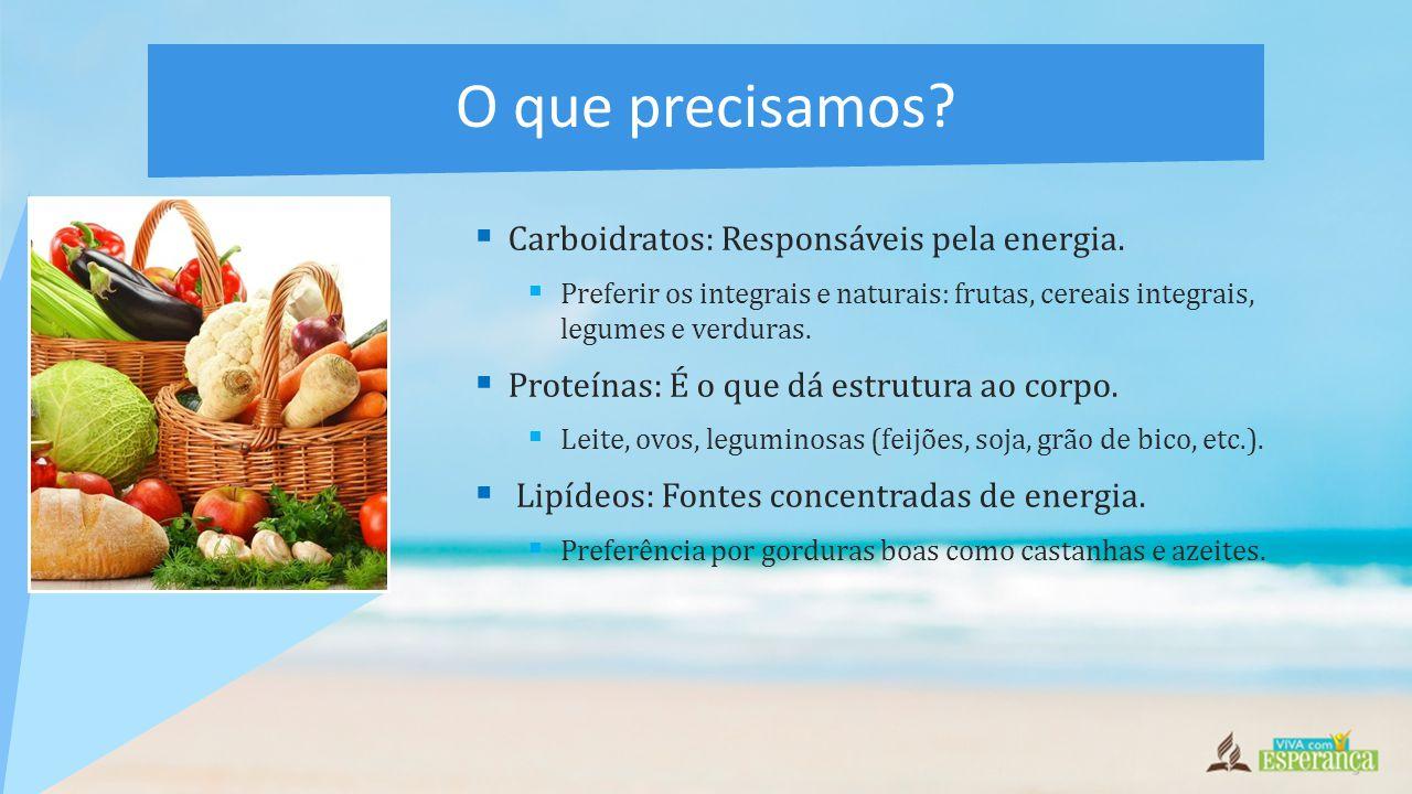O que precisamos Carboidratos: Responsáveis pela energia.