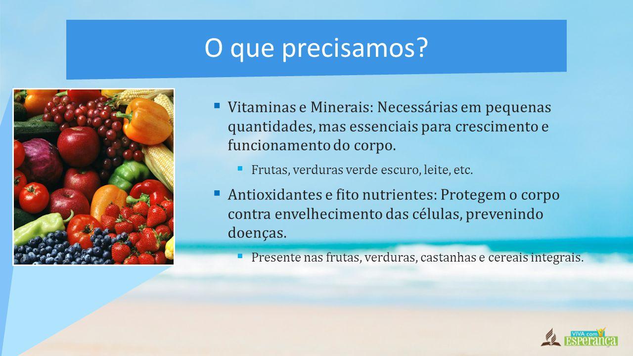 O que precisamos Vitaminas e Minerais: Necessárias em pequenas quantidades, mas essenciais para crescimento e funcionamento do corpo.