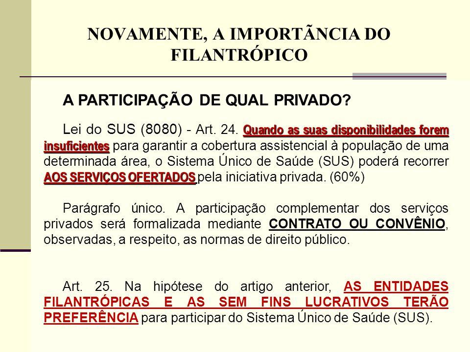 NOVAMENTE, A IMPORTÃNCIA DO FILANTRÓPICO