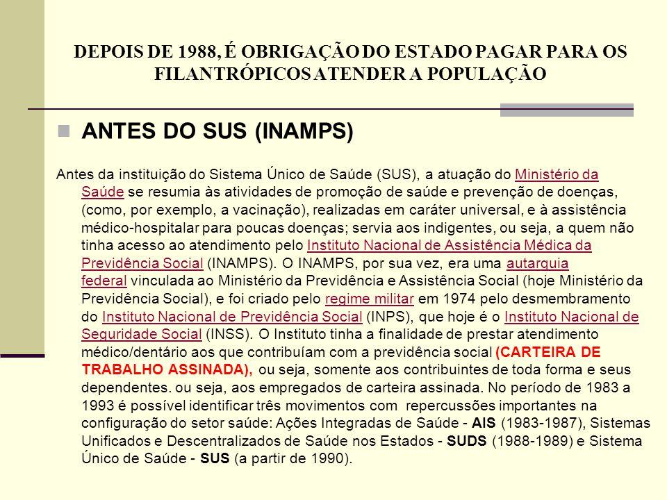 DEPOIS DE 1988, É OBRIGAÇÃO DO ESTADO PAGAR PARA OS FILANTRÓPICOS ATENDER A POPULAÇÃO