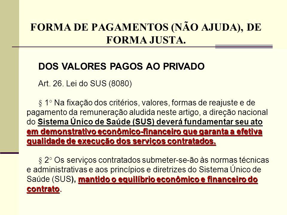 FORMA DE PAGAMENTOS (NÃO AJUDA), DE FORMA JUSTA.