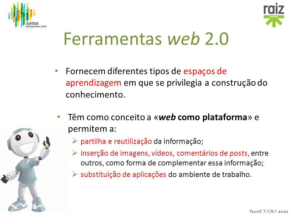 Ferramentas web 2.0 Fornecem diferentes tipos de espaços de aprendizagem em que se privilegia a construção do conhecimento.