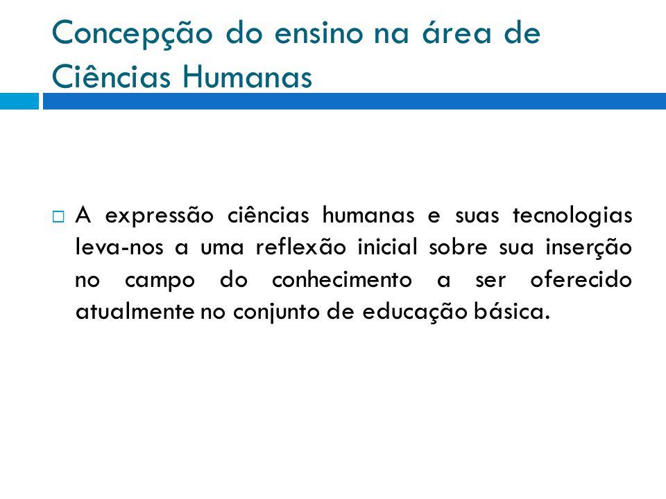 Concepção do ensino na área de Ciências Humanas