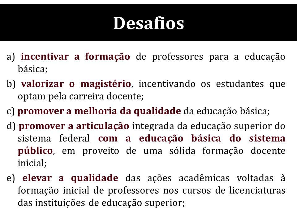 Desafios a) incentivar a formação de professores para a educação básica;