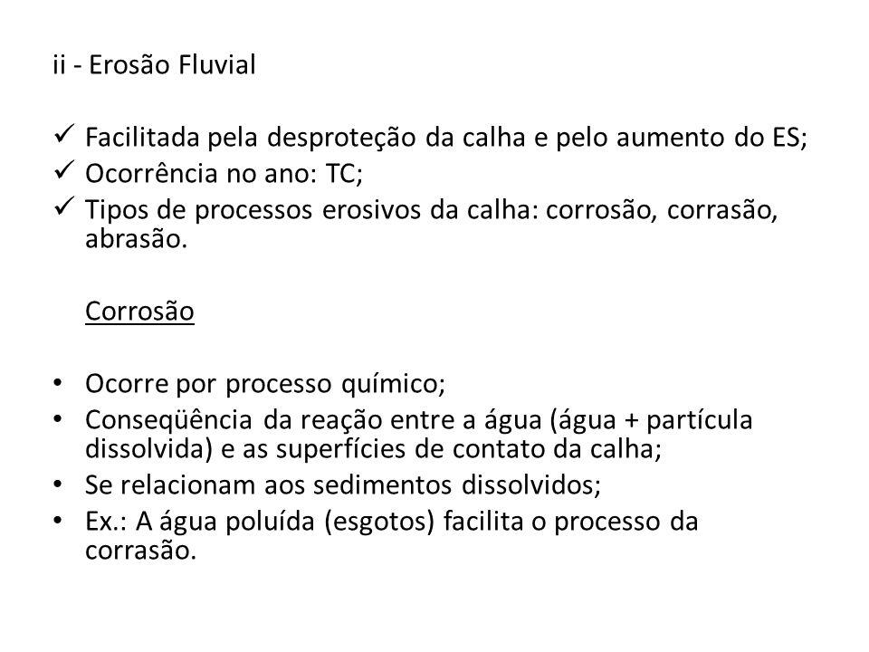 ii - Erosão Fluvial Facilitada pela desproteção da calha e pelo aumento do ES; Ocorrência no ano: TC;