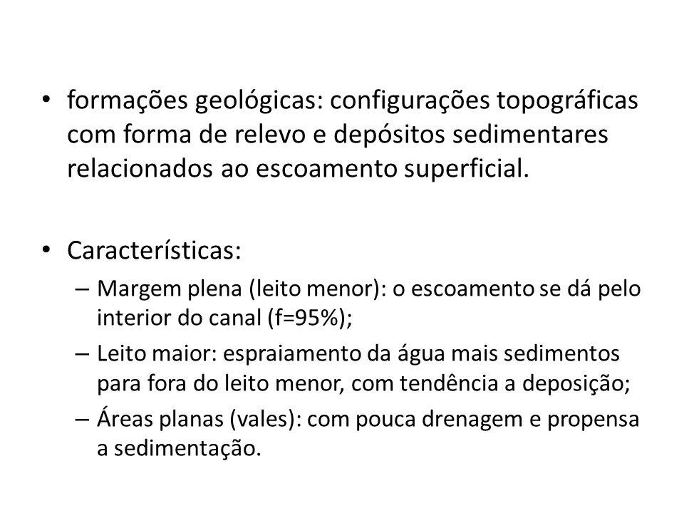 formações geológicas: configurações topográficas com forma de relevo e depósitos sedimentares relacionados ao escoamento superficial.