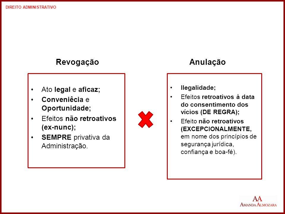 Revogação Anulação Ato legal e aficaz; Conveniêcia e Oportunidade;