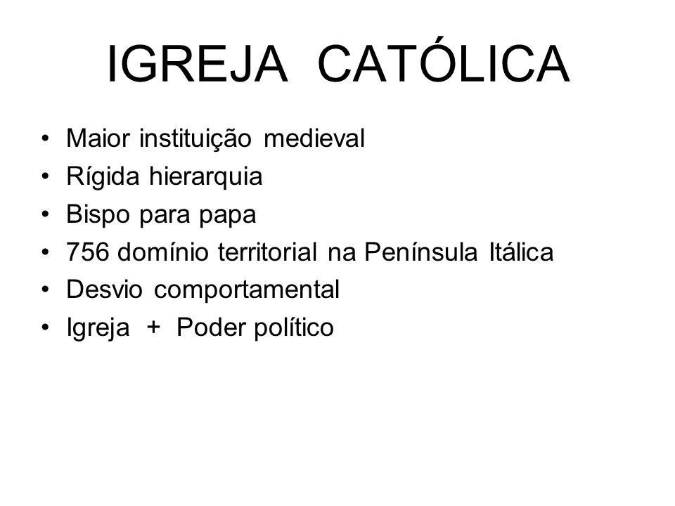 IGREJA CATÓLICA Maior instituição medieval Rígida hierarquia