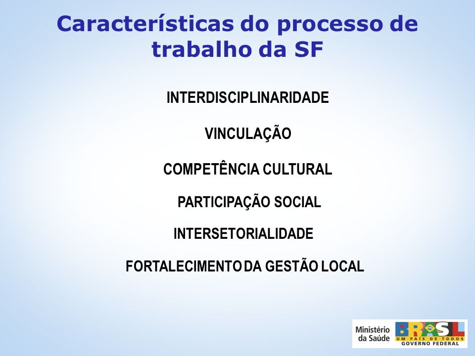 Características do processo de trabalho da SF INTERDISCIPLINARIDADE