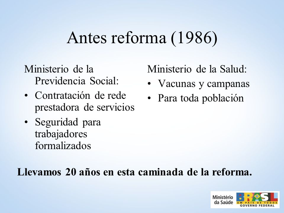 Antes reforma (1986) Ministerio de la Previdencia Social:
