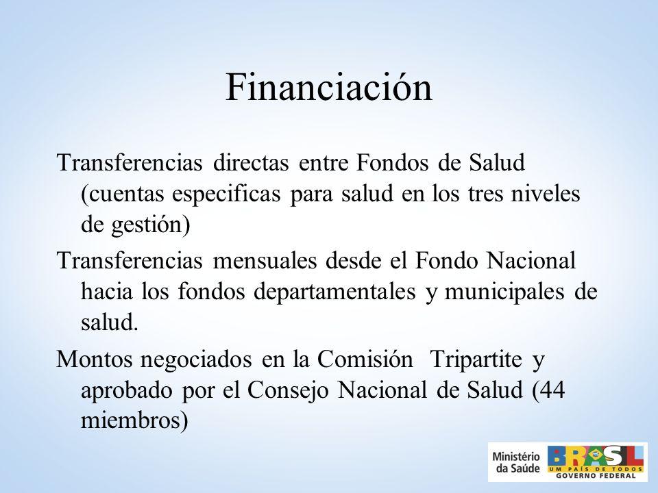 FinanciaciónTransferencias directas entre Fondos de Salud (cuentas especificas para salud en los tres niveles de gestión)