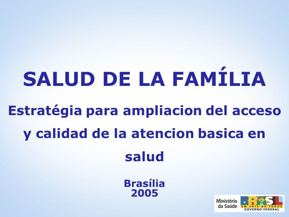 SALUD DE LA FAMÍLIA Estratégia para ampliacion del acceso y calidad de la atencion basica en salud.