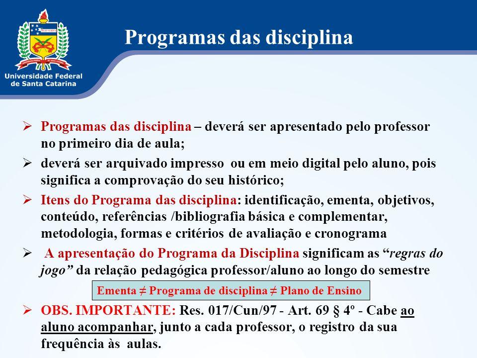 Programas das disciplina