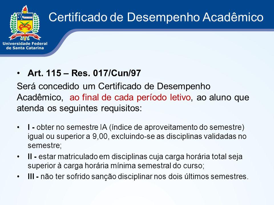 Certificado de Desempenho Acadêmico
