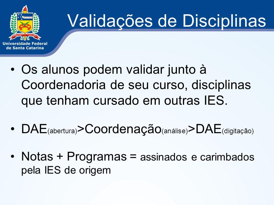 Validações de Disciplinas