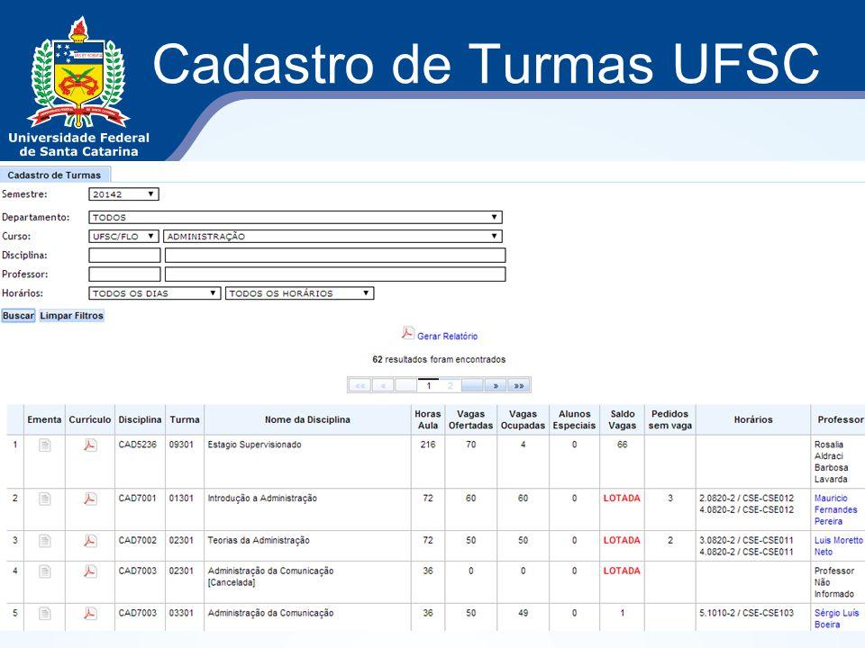 Cadastro de Turmas UFSC