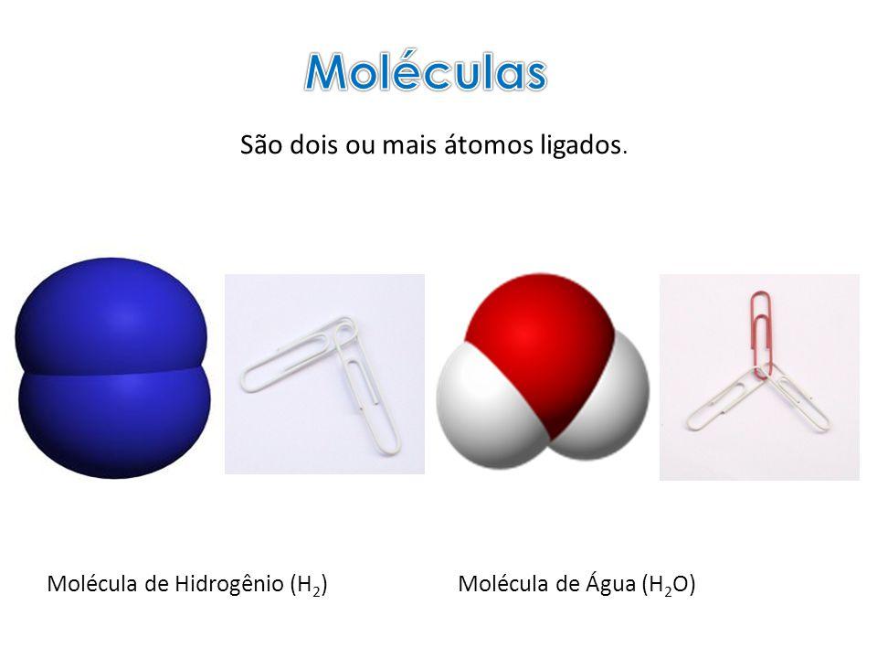 Moléculas São dois ou mais átomos ligados. Molécula de Hidrogênio (H2)