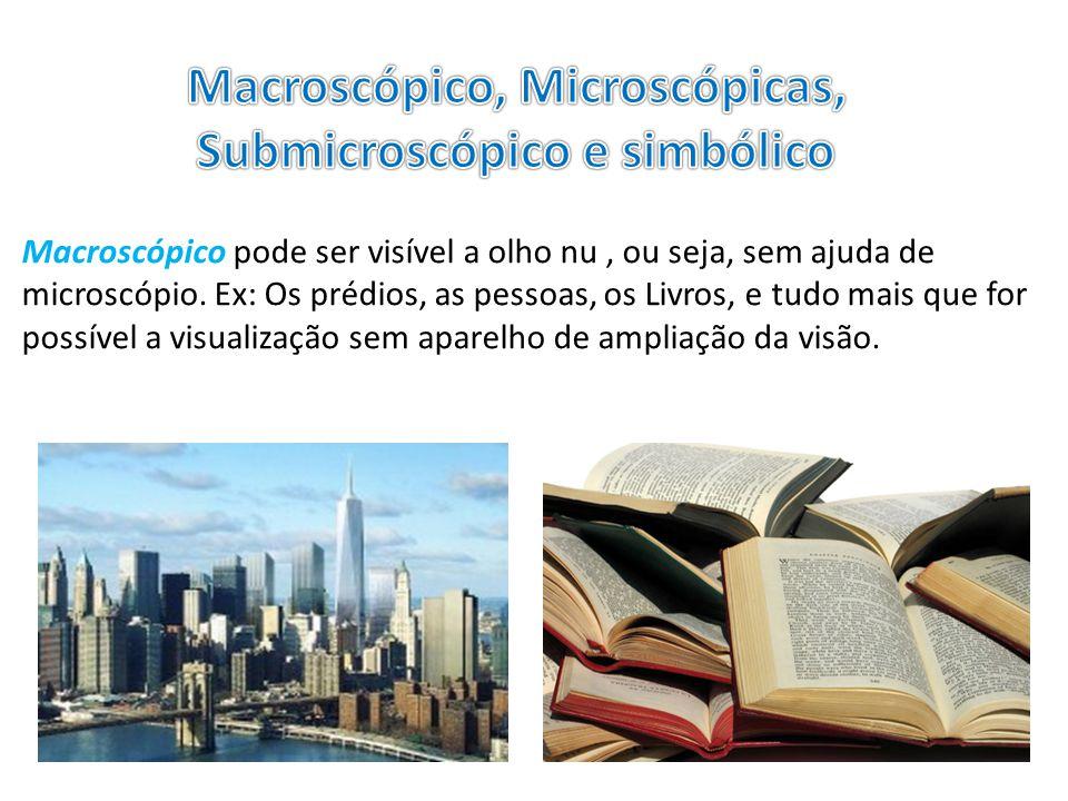Macroscópico, Microscópicas, Submicroscópico e simbólico
