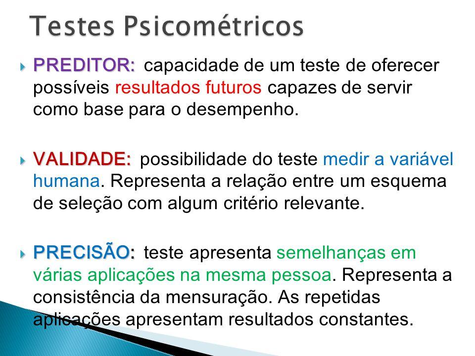 Testes Psicométricos PREDITOR: capacidade de um teste de oferecer possíveis resultados futuros capazes de servir como base para o desempenho.