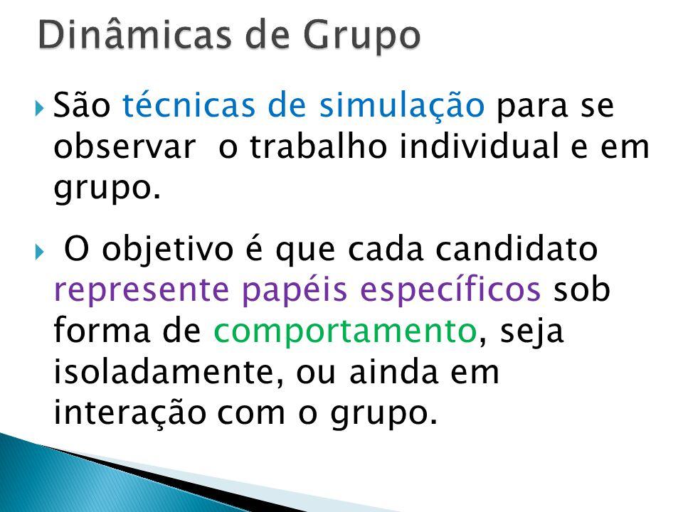 Dinâmicas de Grupo São técnicas de simulação para se observar o trabalho individual e em grupo.