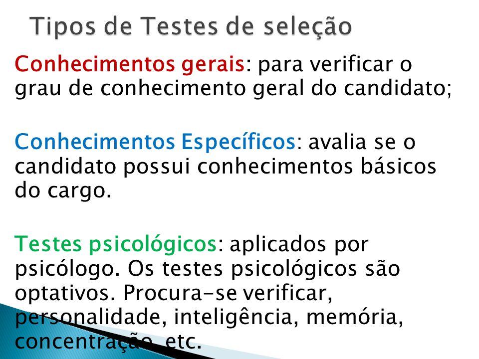 Tipos de Testes de seleção
