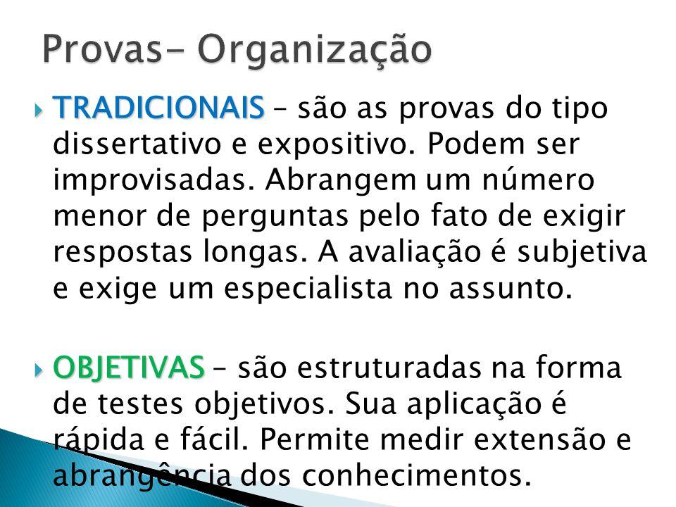 Provas- Organização