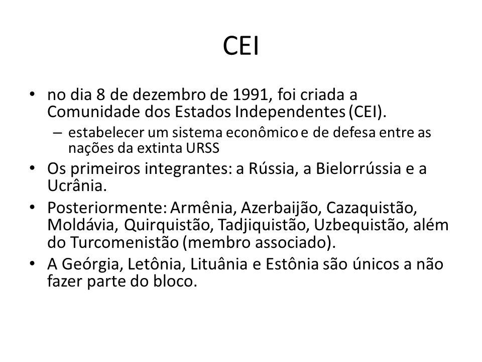 CEI no dia 8 de dezembro de 1991, foi criada a Comunidade dos Estados Independentes (CEI).
