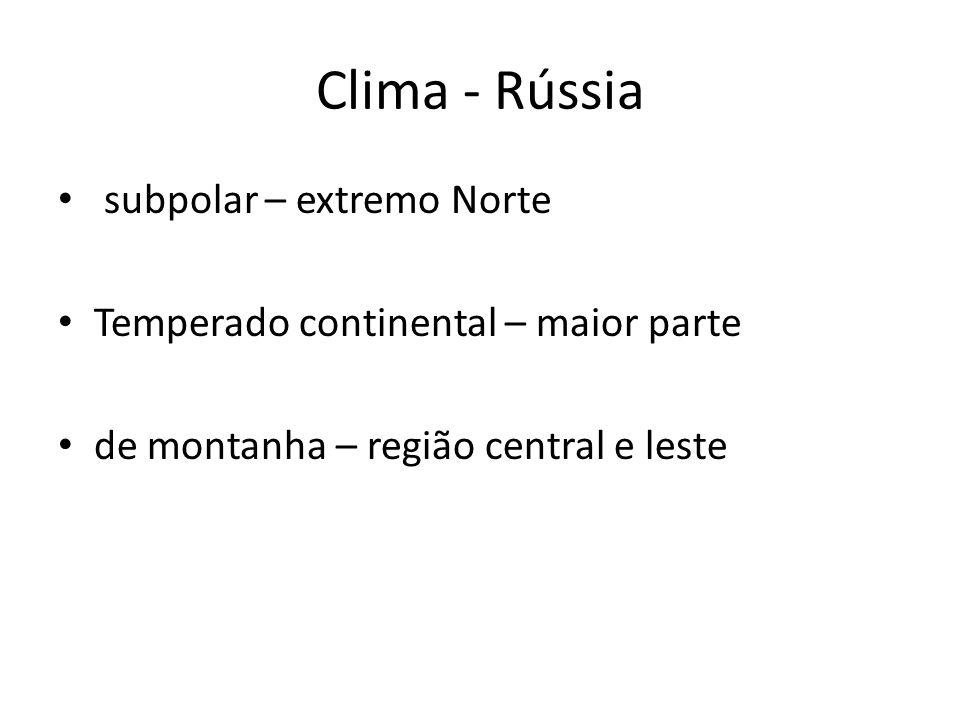 Clima - Rússia subpolar – extremo Norte
