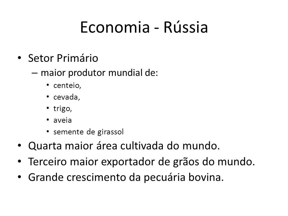 Economia - Rússia Setor Primário Quarta maior área cultivada do mundo.