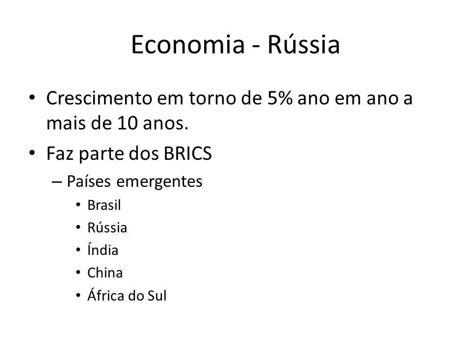 Economia - Rússia Crescimento em torno de 5% ano em ano a mais de 10 anos. Faz parte dos BRICS. Países emergentes.
