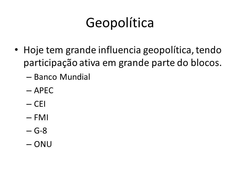 Geopolítica Hoje tem grande influencia geopolítica, tendo participação ativa em grande parte do blocos.