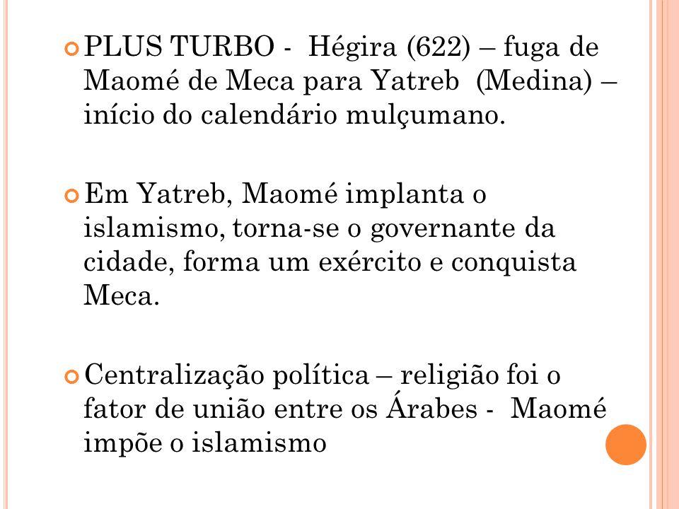 PLUS TURBO - Hégira (622) – fuga de Maomé de Meca para Yatreb (Medina) – início do calendário mulçumano.