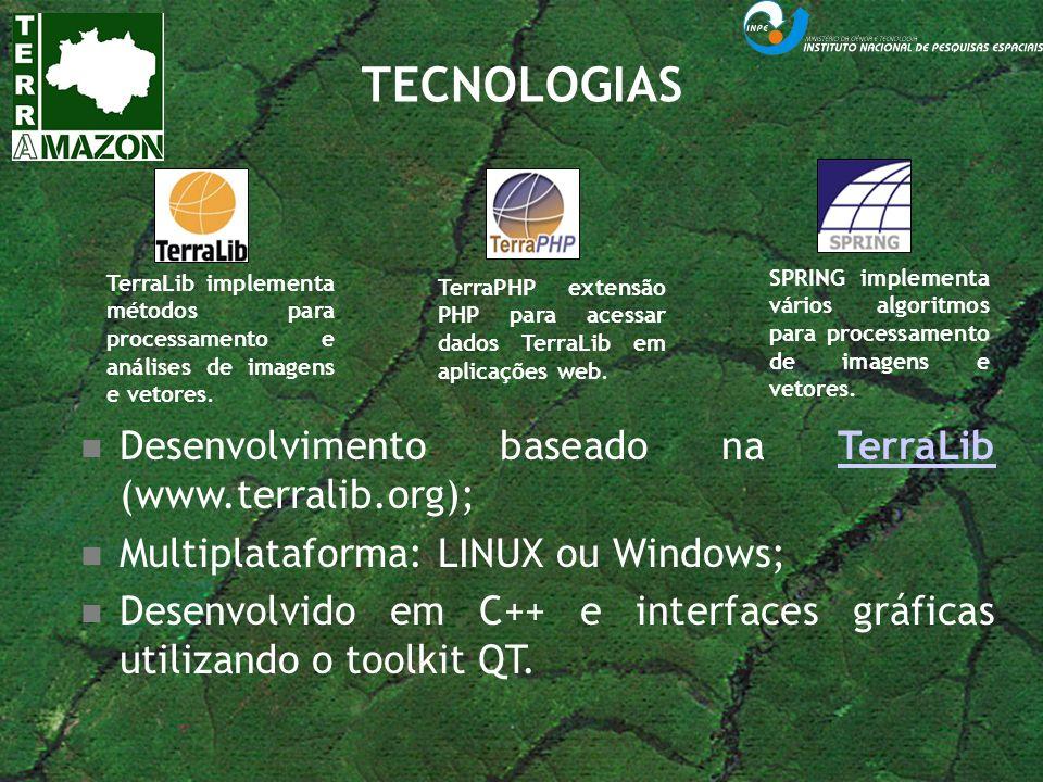 TECNOLOGIAS Desenvolvimento baseado na TerraLib (www.terralib.org);