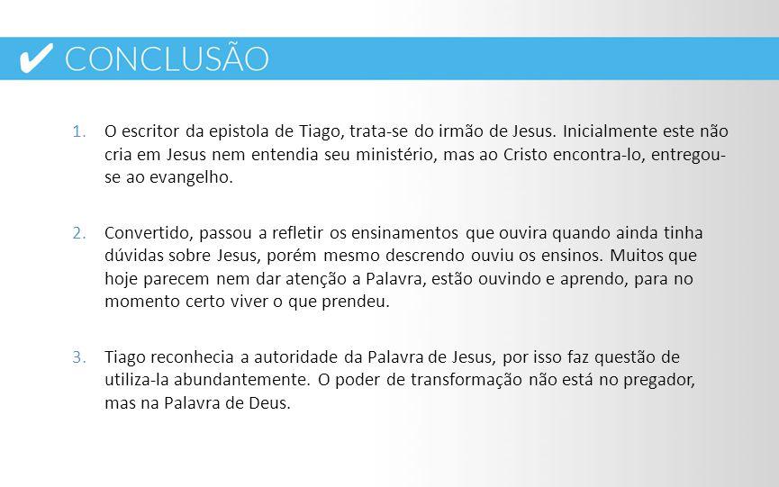 O escritor da epistola de Tiago, trata-se do irmão de Jesus