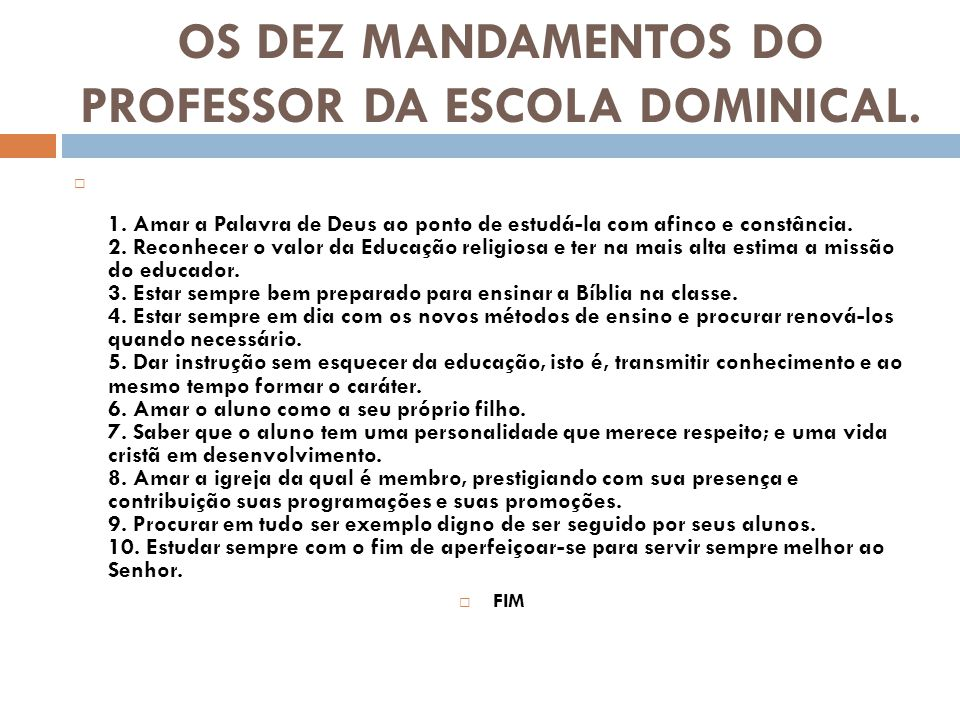 Mensagem Para Os Professores Do Ministério Infantil: Fabuloso Dez Mandamentos Evangelicos VS82
