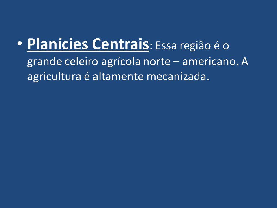 Planícies Centrais: Essa região é o grande celeiro agrícola norte – americano.
