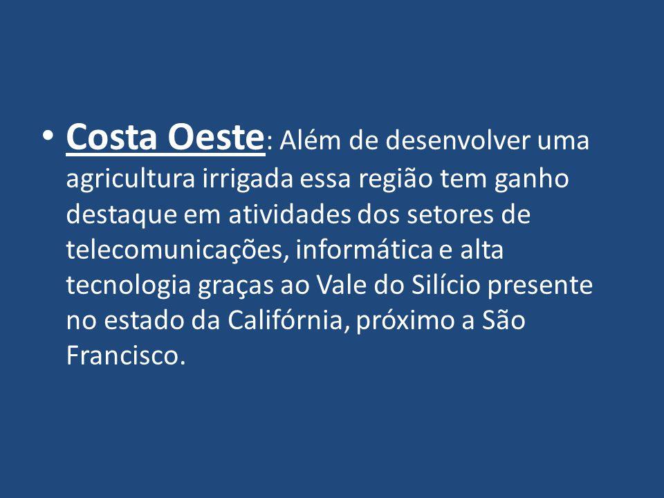 Costa Oeste: Além de desenvolver uma agricultura irrigada essa região tem ganho destaque em atividades dos setores de telecomunicações, informática e alta tecnologia graças ao Vale do Silício presente no estado da Califórnia, próximo a São Francisco.