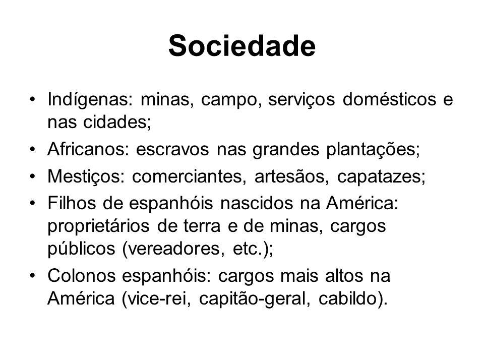 Sociedade Indígenas: minas, campo, serviços domésticos e nas cidades;