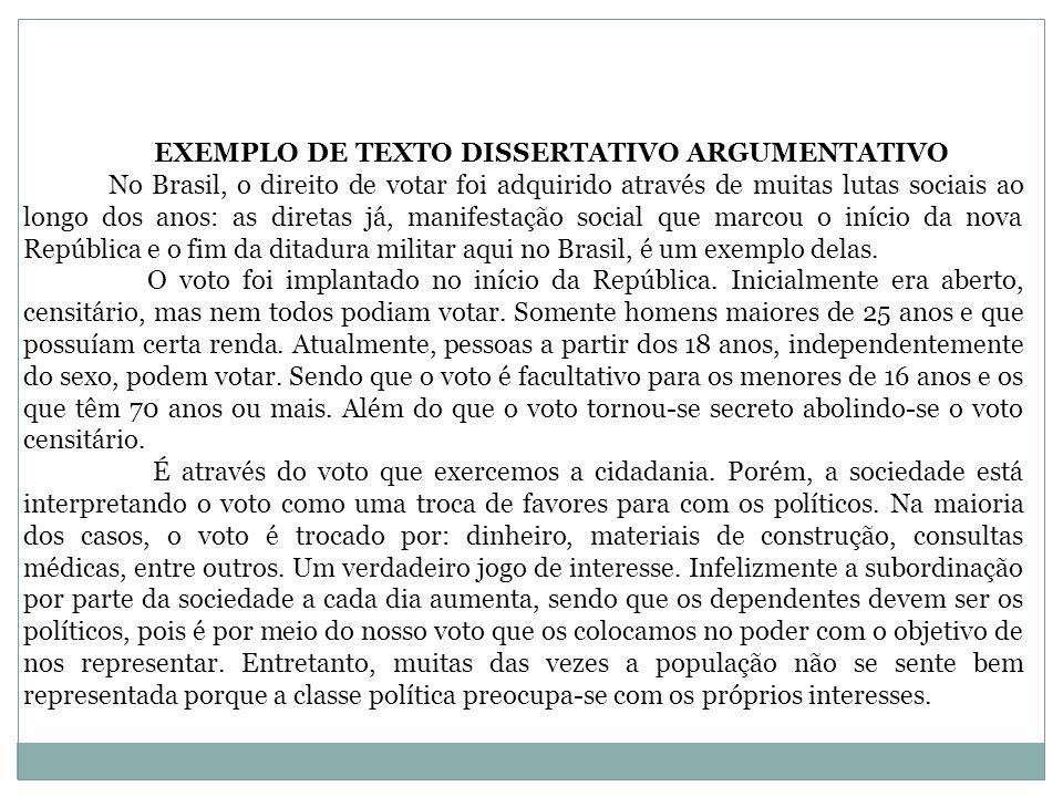 EXEMPLO DE TEXTO DISSERTATIVO ARGUMENTATIVO