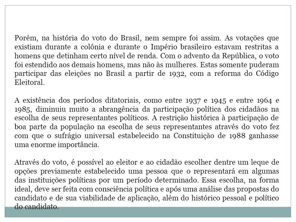 Porém, na história do voto do Brasil, nem sempre foi assim