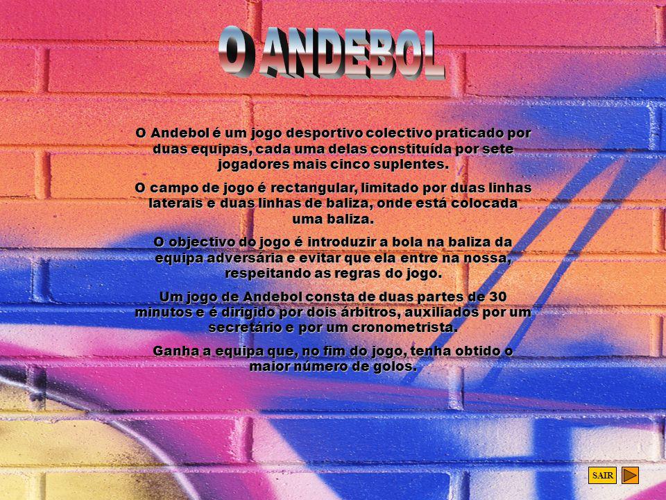 O ANDEBOL O Andebol é um jogo desportivo colectivo praticado por duas equipas, cada uma delas constituída por sete jogadores mais cinco suplentes.