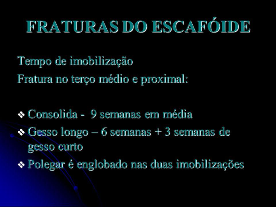 FRATURAS DO ESCAFÓIDE Tempo de imobilização