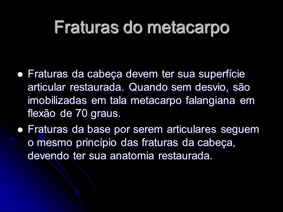 Fraturas do metacarpo