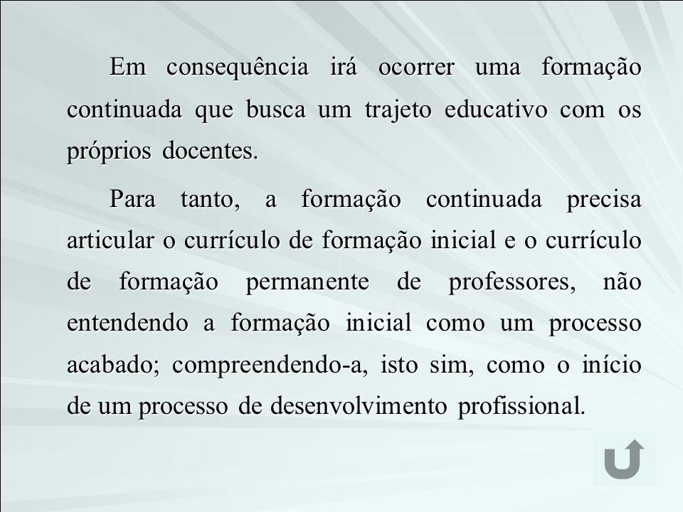 Em consequência irá ocorrer uma formação continuada que busca um trajeto educativo com os próprios docentes.