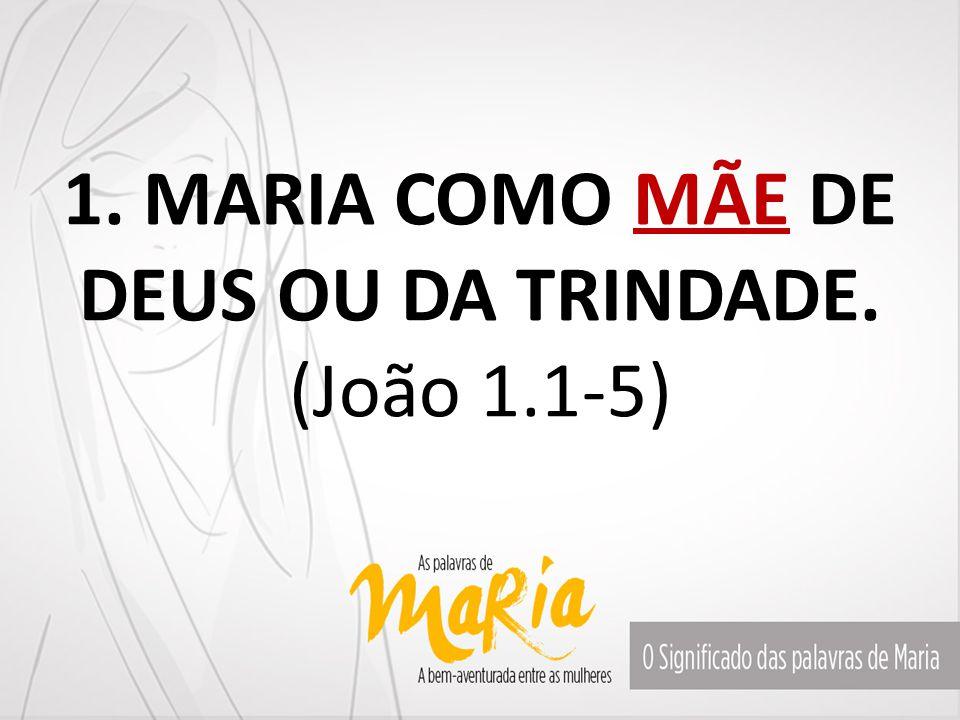 1. MARIA COMO MÃE DE DEUS OU DA TRINDADE. (João 1.1-5)