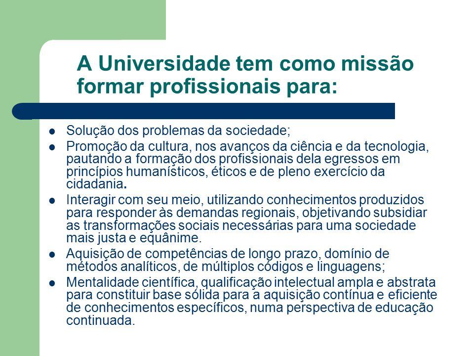 A Universidade tem como missão formar profissionais para:
