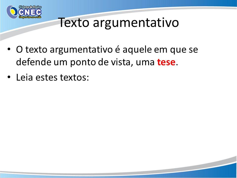 Texto argumentativo tese
