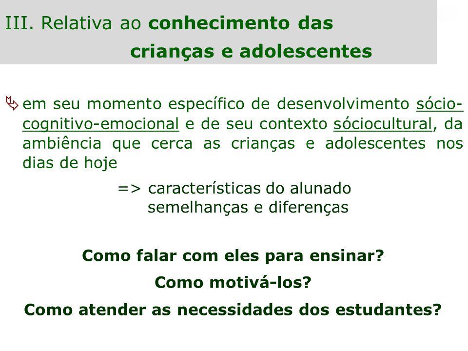 III. Relativa ao conhecimento das crianças e adolescentes