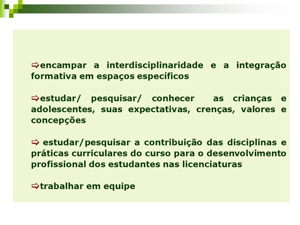 encampar a interdisciplinaridade e a integração formativa em espaços específicos